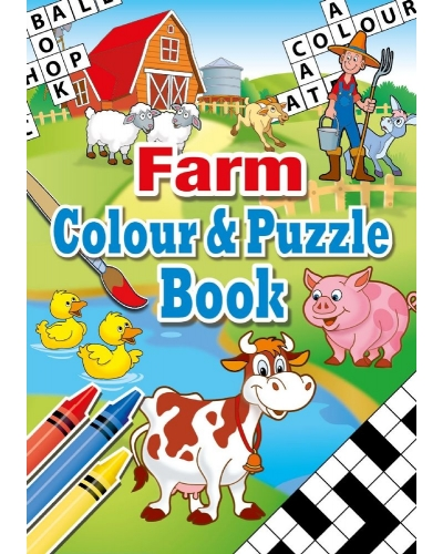 24 x Farm A6 Colour & Puzzle Books