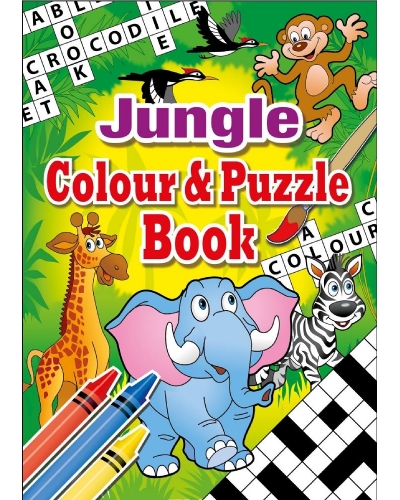 24 x Jungle A6 Colour & Puzzle Books