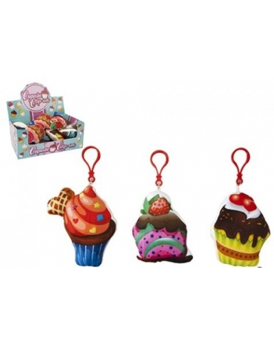 12 x Fabric Cupcake Keyclips