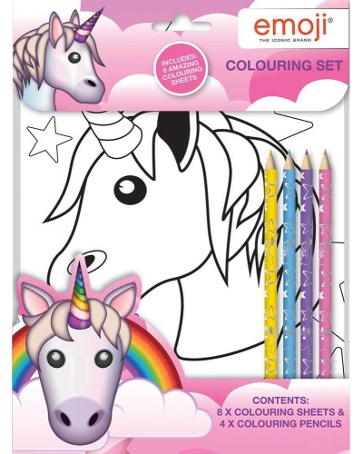 12 x Emoji Unicorn Colouring Sets