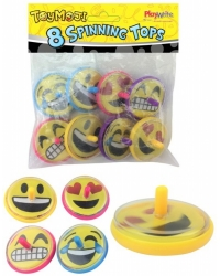 Image of 12 Packs of 8 Emoji Spinning Tops