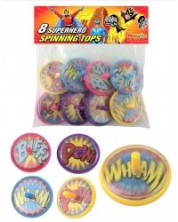 12 Packs of 8 Super Hero Spinning Tops