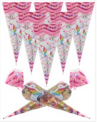 Image of 100 x Unicorn Sweet Cones 20x40cm