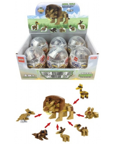 6 x Animal Capsule Building Brick Sets