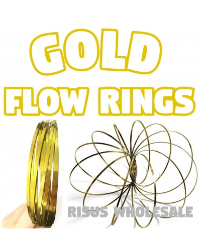 10 x Gold Flow Rings Magic Kinetic Toy