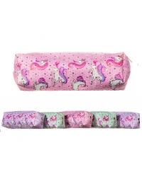 Image of 12 x Unicorn Fabric Barrel Pencil Cases