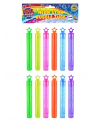 12 x Neon Star Bubble Tubes
