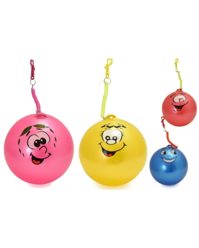 24 x Smile Face Balls With Spiral Keychain