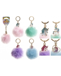 Image of 24 x Unicorn Faux Fur Pom Pom Key Chains