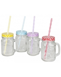 4 x Glass Mason Drinking Mugs