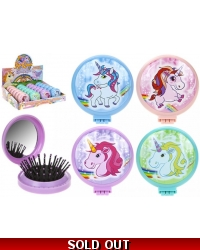 Image of 24 x Unicorn Folding Hair Brush & Mirror Compacts