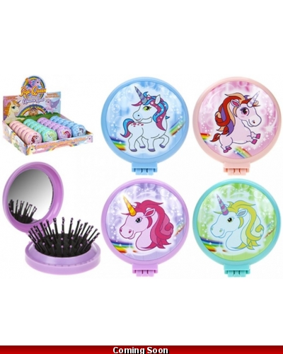 24 x Unicorn Folding Hair Brush & Mirror Compacts