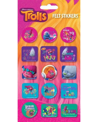 12 x Trolls Felt Stickers Sheets