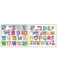 Image of 12 x Wooden Alphabet & Number Jigsaw Puzzles