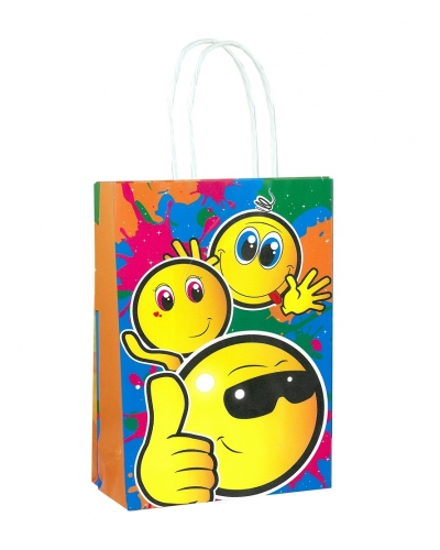 24 x Smiley Face Paper Party Bag W/Handles