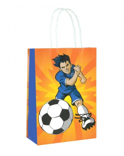 24 x Football Paper Party Bag W/Handles