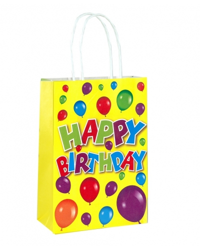 24 x Happy Birthday Paper Party Bag W/Handles