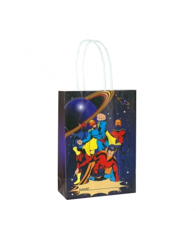 24 x Super Hero Paper Party Bag W/Handles