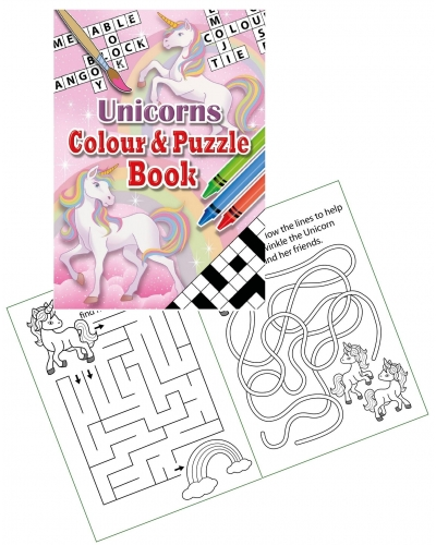 24 x Unicorn A6 Colour & Puzzle Books