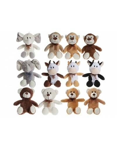 12 x Natural Supersoft Plush Animals 20cm