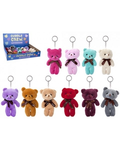 24 x Plush Teddy Bear Keyrings 13cm