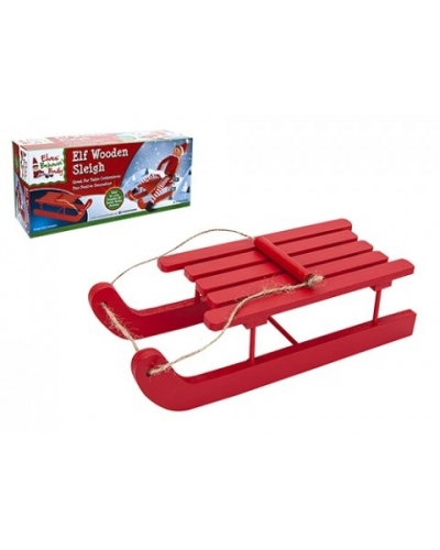 6 x Red Wooden Elf Christmas Sleigh