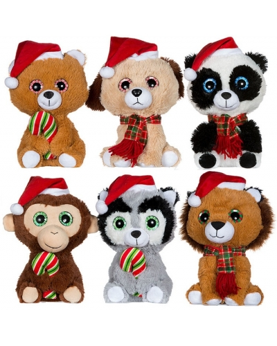 6 x Plush Big Eye Christmas Animals 9""