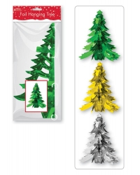 Image of 6 x Foil Hanging Christmas Tree Decora..