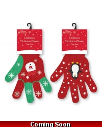 Image of 12 x Pairs Of Children's Christmas Gloves
