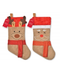 Image of 12 X Santa & Reindeer Hessian Stockings