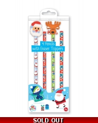 Image of 12 x Christmas Pencils & Erasers 4pk