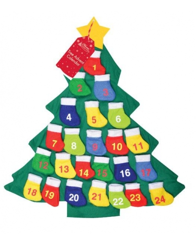 6 x Felt Christmas Tree Advent Calendars
