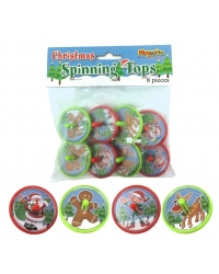 Image of 12 Packs of 8 Christmas Spinning Tops