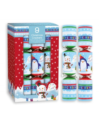 "9x8"" Christmas Crackers Penguin & Snowman"