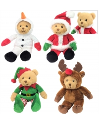 Image of 8 x Plush Christmas Bears In Costumes ..