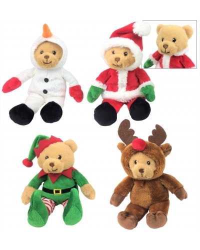 8 x Plush Christmas Bears In Costumes 15cm