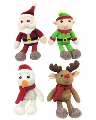 8 x Knitted Xmas Plush Toy Assortment 15cm