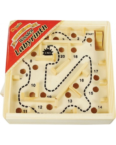 Wrapped Grotto Toys - Wooden Labyrinth Maze Puzzle x12
