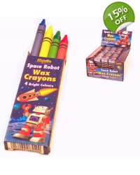 Image of 100 x Packs of 4 Space Robot Wax Crayons