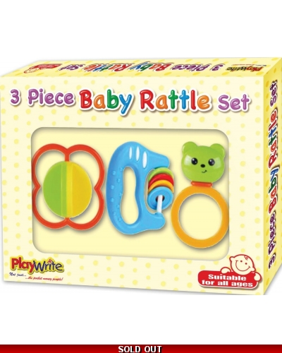 Wrapped Grotto Toys - Baby 3 piece Rattle Set x 6
