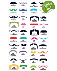100 x Fingerstache Tattoo Sheets