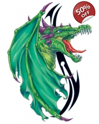 Image of 100 x Large Green Dragon Tattoos