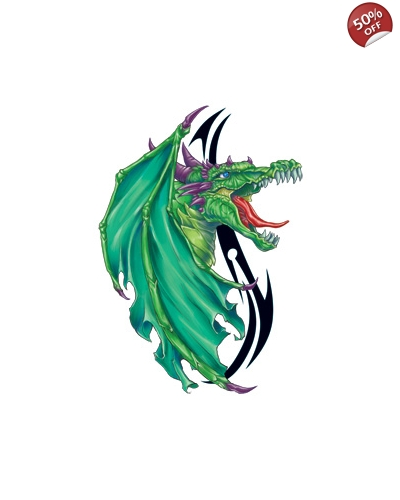 100 x Large Green Dragon Tattoos