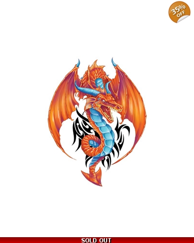 100 x Large Red Dragon Tattoos