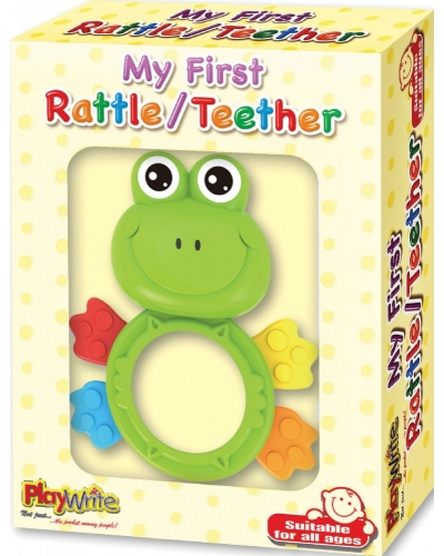 Wrapped Grotto Toys - Frog Rattle & Teether x 12