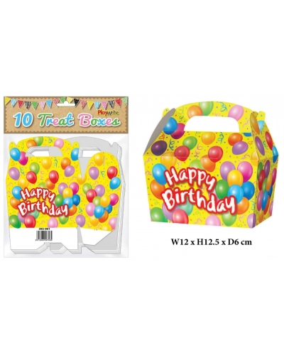 10 x Happy Birthday Party Treat Boxes 10 pk
