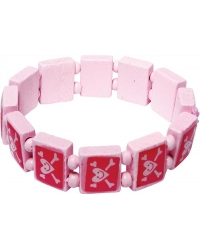 Image of 60 x Pink Pirate Wooden Bracelets