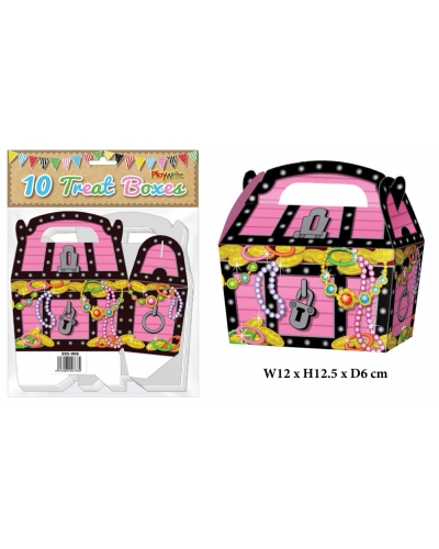 10 x Pink Pirate Treasure Chest Party Treat Boxes 10 pk
