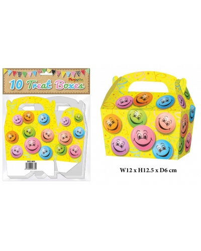 10 x Smiley Face Treat Boxes 10 pk