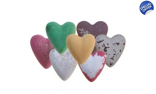 Mega fizz heart bath bombs x 6